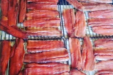 Preparing the rainbow trout for smoking. They turned out wonderful.